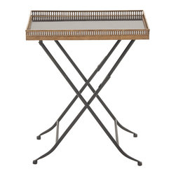 Unique Styled Metal Marble Tray Table - Description:
