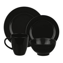 Waechtersbach - Fun Factory Place Setting, Black, 4 Piece - Bring contemporary style to your table with the Fun Factory Black 4-Piece Place Setting. Combining clean lines with solid color, this casual dinnerware set was created with everyday meals in mind. Service for one. Includes dinner plate, salad plate, soup/cereal bowl, and mug.