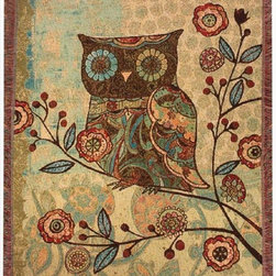 Manual - `Milo Collection` Owl Tapestry Throw Blanket 50 Inch X 60 Inch - This multicolored woven tapestry throw blanket is a wonderful addition to the decor of any bird lover. Made of cotton, the blanket measures 50 inches wide, 60 inches long, and has approximately 1 1/2 inches of fringe around the border. The blanket features a print of a stylized owl in a tree. Care instructions are to machine wash in cold water on a delicate cycle, tumble dry on low heat, wash with dark colors separately, and do not bleach. This comfy blanket makes a great housewarming gift that is sure to be loved.