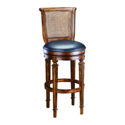 Hillsdale Furniture - Hillsdale Dalton Cane Back 24 Inch Counter Height Stool - The Dalton barstool traditional, timeless and stately is constructed of solid hardwoods and covered in an easy to care for supple black leather. With a versatile cherry finish, 360 degree swivel feature, sleigh style design and the ever classic cane back, this stool will transition effortlessly into your home decor.