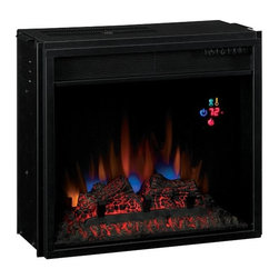 """Dimplex - ClassicFlame 18-Inch SpectraFire Electric Fireplace Insert - 18EF023GRA - The ClassicFlame 18"""" SpectraFire Electric Fireplace Insert - 18EF023GRA features energy saving all LED technology, upgraded realistic resin logs and ember bed, and a digital thermostat with numerical readout. This electric fireplace insert also includes 5 flame brightness settings and a remote control."""