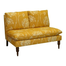 "Skyline Furniture - Lounge Settee Loveseat - This armless loveseat makes a great addition to any living room or sitting area in your home. It offers style and comfort while lending any room in your home a stylish look. It is manufactured with a sturdy solid pine frame. It is handmade in the U.S.A. Spot clean only. Some assembly is required. Features: -Settee.-Queen Anne lace style.-Makes a great addition to any living room or sitting area in your home.-It offers style and comfort while lending any room in your home a stylish look.-19'' seat height.-Spot clean.-Made in USA.-Solid wood construction.-Lounge collection.-Collection: Lounge.-Distressed: No.-Country of Manufacture: United States.Dimensions: -Overall Product Weight: 42 lbs.-Overall Height - Top to Bottom: 35"".-Overall Width - Side to Side: 49"".-Overall Depth - Front to Back: 35"".Assembly: -Assembly required."