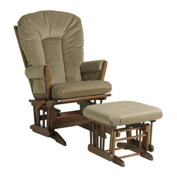 Dutailier - Dutailier Ultramotion Multi-position Light Brown Microfiber Glider Chair/ Ottoma - Relax your entire body in this comfortable and stylish plush glider chair and ottoman set. This classic look is crafted from high-quality hardwood and it comes with two removable cushions in a light-brown microfiber that are easy to keep clean.