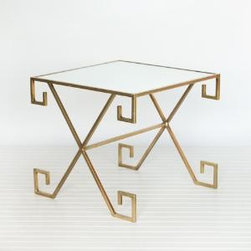 """Gold Leaf Greek Key Side/Accent Table - This lovely accent table features gold leaf finish with a Greek key design and a mirror top.  The table measures 21""""W X 21""""D X 18""""H.  Product in photo is from www.wellappointedhouse.com"""