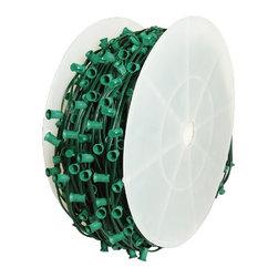 "Seasonal Source - C7 Light Spool, 1000' Length, 12"" Spacing, Green Wire - Socket wire is an important component to many dramatic displays."