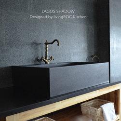 FARMHOUSE  BLACK GRANITE KITCHEN SINK-LAGOS SHADOW - Reference: KS700B-US