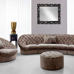 Modern, Contemporary Fabric Upholstered Living Room Sets - BUYS- COSMOPOLITAN MINI Contemporary Button Tufted Beige Velvet Fabric Sectional Sofa And Round Chair And Ottoman Living Room Set