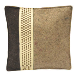 The Felt Store - 15 x 15 Inch Square Tricolor Cushion - The Tricolor Cushion features three types of felt on one side: dark gray industrial felt, light gray industrial felt, and one strip of The Felt Store's Honeycomb material. This particular cushion has a very modern style, and is perfect on any sofa or chair! It is a perfect piece for your home or office, and makes a unique gift. This particular cushion is square in shape, and measures 15 inches x 15 inches(381mm x 381mm). The cushion is filled with 100% wool fibers enclosed in a cotton case. To clean, spot clean with warm water or dry clean.