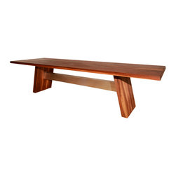 Meubles Bois INOX - Valencia Dining Table - Feature master craftsmanship in your home with this solid wood and metal table, handmade from rich walnut. The aluminum base of this gorgeous table makes a sturdy surface, and the hand-applied oil and wax finish provides a smooth exterior you'll want to run your hands over. This angled-legged table is available in several sizes and in premium quality materials.