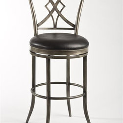 Hillsdale Furniture - Swivel Stool (26 in. Counter Height) - Choose Size: 26 in. Counter HeightInterlocking cross and diamond shaped backPewter finish with a black rubGlossy black vinyl360 degree swivel. 22 in. W x 19 in. D x 42 in. H (22 lbs.)Marked by its uniquely designed back, featuring an elegant interlocking cross and diamond shape, the Jacqueline is a metal stool with style to spare. A classic pewter finish with a black rub covers the base and back, while the 360 degree swivel stool is covered in glossy black vinyl. Some assembly required.