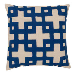 Surya Rugs - Antique White and Dark Blue Polyester Filled 22 x 22  Pillow - - Add style and sophistication to any room with this modern pillow accented with antique white and dark blue. This pillow has a polyester fill and zipper closure. Made in India with one hundred percent cotton this pillow is durable and priced right  - Cleaning/Care: Blot. Dry Clean  - Filled Material: Polyester Filler Surya Rugs - AR082-2222P