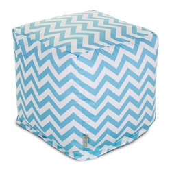 Majestic Home - Indoor Tiffany Blue Chevron Small Cube - This pattern points directly to your cool sense of style and perfectly suits your favorite casual setting. The cube itself — a versatile upgrade on the beanbag — works as a footstool, end table or comfy seat.