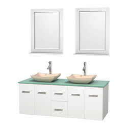 "Wyndham Collection - Centra 60"" White Double Vanity, Green Glass Top, Avalon Ivory Marble Sinks - Simplicity and elegance combine in the perfect lines of the Centra vanity by the Wyndham Collection. If cutting-edge contemporary design is your style then the Centra vanity is for you - modern, chic and built to last a lifetime. Available with green glass, pure white man-made stone, ivory marble or white carrera marble counters, with stunning vessel or undermount sink(s) and matching mirror(s). Featuring soft close door hinges, drawer glides, and meticulously finished with brushed chrome hardware. The attention to detail on this beautiful vanity is second to none."