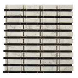 "Euro Glass - Skyline White Carrara and Black Uniform Brick White Kitchen Polished Stone - Sheet size: 12 1/2"" x 12 1/2"""
