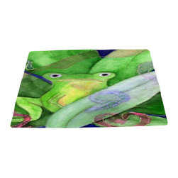 xmarc - Garden Area Plush Area Rugs From Original Art, Tree Frog, 48 X 30 - Tree frog garden area plush area rugs from original art. Tree frogs, dragonflies, flowers, lady bug, butterflies.