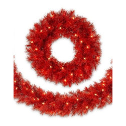 Lipstick Red Wreath And Garland - DARE TO BE BOLD WITH TREETOPIA'S LIPSTICK RED WREATH AND GARLAND