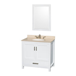 """Wyndham Collection - Sheffield 36"""" White Single Vanity w/ Ivory Marble Top & Undermount Oval Sink - Distinctive styling and elegant lines come together to form a complete range of modern classics in the Sheffield Bathroom Vanity collection. Inspired by well established American standards and crafted without compromise, these vanities are designed to complement any decor, from traditional to minimalist modern. Available in multiple sizes and finishes."""