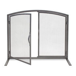Pilgrim - Shadow Natural Iron Door Screen - Features access doors for tending the fire, warm natural iron finish.