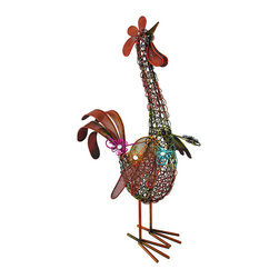 Colorful Metal Wire and Mesh Rooster Sculpture 16 In. - This colorful fellow is right at home in your garden, on your porch or patio, or even inside your home. He stands 16 inches tall, is 9 inches long, 4 1/4 inches wide, and is constructed of metal wire and mesh screen. Six rhinestone accents provide a subtle sparkle, highlighting the beautiful colors of the piece. This rooster makes a great gift that is sure to be admired.