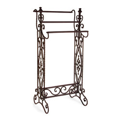 iMax - Narrow Quilt Rack - Traditional, narrow wrought iron quilt or towel rack in a dark finish with open-metalwork design features 3 horizontal bars.