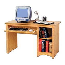 Prepac - Home Computer Desk in Maple - One roll-out keyboard tray. One bottom shelf. Warranty: Five years. Made from CARB-compliant, laminated composite woods. Made in North America. Assembly required. Side opening:  9.75 in. W x 20.5 in. D x 22 in. H. Overall: 48 in. W x 23.5 in. D x 29 in. HEvery office needs a computer desk, so why compromise on value or features? Solidly designed with minimalist lines, this desk fits both your decor and your budget. Coordinate with matching wall mounted desk hutch