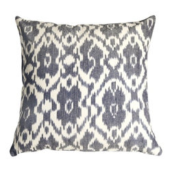 Pillow Decor - Pillow Decor - Caravan Ikat Old Blue 20X20 Throw Pillow - This beautiful 100% cotton throw pillow is a genuine hand-woven ikat. It is a handcrafted artisanal fabric, hand dyed and woven. The indigo blue and cream colors have a wonderful natural faded appearance that are produced by the authentic Ikat dye and weaving process.
