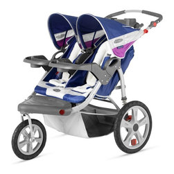 InSTEP - InStep Grand Safari Swivel Wheel Double Jogging Stroller - Navy Multicolor - 11- - Shop for Jogging Strollers from Hayneedle.com! You and your child will love listening to music while you're on a walk or run with the InStep Grand Safari Swivel Wheel Double Jogging Stroller - Navy. This strong and durable stroller is designed for two children up to 40 pounds each. Your children will rest comfortably in the stroller which has soft machine washable fleece lining. Featuring an adjustable handlebar this stroller has two 16-inch rear pneumatic tires and a 12-inch front pneumatic tire along with exposed spring shock absorbers for a comfortable ride for you and your children. A secure five-point harness system buckle system keeps your safely in the stroller while the canopy featuring mounted speakers which are compatible with most MP3 players protects your children from the sun. The front wheel locks manually so you can easily switch from a swivel to a locked front wheel for running. A large basket underneath provides plenty of storage for a diaper bag. purse gear and more. Additional Features Molded flip-open tray with 2 cup holders 16-inch rear pneumatic tires with molded rims 12-inch front pneumatic tire with molded rim Secure 5-point harness and buckle system Canopy protects your child from the sun Canopy mounted speakers accept most MP3 players Manual locking front wheel Easily switch from swivel to fixed wheel Exposed spring shock absorbers for a smooth ride Folds quickly and easily Large basket provides plenty of storage space About InSTEPNow you can spend more time with your little one get in the workout you need and show your children how much fun a healthy lifestyle can be - and without the sticker shock. InSTEP prides itself on providing joggers and trailers that not only measure up to your expectations of comfort performance and convenience but also appease your budget with outstanding value prices. InSTEP products have more features more function taste