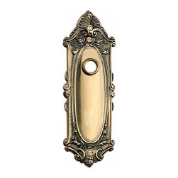 Renovators Supply - Door Plates Solid Brass Door Plate W/out Keyhole 7 3/4H x 2 5/8W | 10044 - Doorplate. Add elegance to your doors with our beautiful door plates. Oval in the middle with scrollwork around the edges- this doorplate (without keyhole) is 7 3/4 in. H x 2 5/8 in. W. Can be used with our knobs and our passage sets.