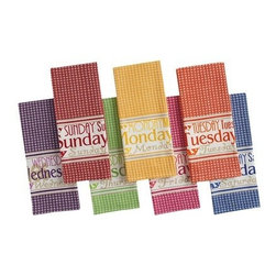 Days of the Week Kitchen Towel Set, Multicolor - You could simply leave Wednesday out every day of the week, but the other colors are awfully fun too.