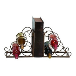 Woodland Imports Metal Bookends Pair 6 Bottle Wine Rack - The vintage-inspired Woodland Imports Metal Bookends Pair 6 Bottle Wine Rack offers a distinguished storage spot for your finest wines. Sturdily crafted of premium metal alloy with a rustic brown finish, this rugged wine caddy features a bookend design with scrolled metal carriers. This antiqued wine rack carries up to six full-size wine bottles.