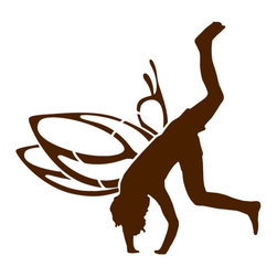 My Wonderful Walls - Somersaulting Boy Fairy Stencil for Painting - - Somersaulting boy fairy stencil
