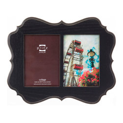 "Prinz - Annabelle Black 2 Picture Collage Frame (5x7) - Wood frame with ash wood veneer, sanded edges, wall hangers. 2-opening (holds 5x7"" photos)."