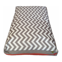 """Messy Marvin - Messy Marvin Wipeable Dog Bed, French Gray/ Zig Zag Pattern, Extra Large - """" 'Sup Pup"""" This is our barktastic doggie bed for all of our four legged friends! Pet stains no more! Just Hose it off!! Comes in French Gray with Zigzag pattern on top, with a red zipper. No need to remove the fill either…the """"Wipe it up"""" Messy Marvin fabric is backed in lead free PVC, so the water will never go through! Clean away!"""