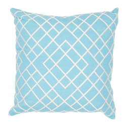 Jaipur Rugs - Handmade Cotton Blue/Ivory/White (20''x20'') Pillow - Modena is a cotton based pillow embroidered with geometric designs.  Add to a  bed or side chair for a great accent.