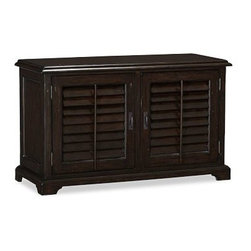 """Holstead Shutter Small TV Media Console, Heritage Espresso finish - Louvered shutters are a fixture throughout the American South, used to keep houses cool in summer, warm in winter. We adapted their design for our Holstead Small Console, which protects components from dust while still allowing the use of remote controls. 50"""" wide x 20"""" deep x 30.5"""" high Expertly crafted of kiln-dried mahogany. Features two pullout drawers and four adjustable shelves. Finished by hand in our exclusive heritage espresso stain. Wood swatches, below, are available for $25 each. We will provide a merchandise refund for wood swatches if they're returned within 30 days. View our {{link path='pages/popups/fb-media.html' class='popup' width='480' height='300'}}Furniture Brochure{{/link}}."""