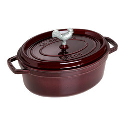 Staub - Staub Coq Au Vin Cocotte, 4.25 Qt., Aubergine - For the perfect meal of coq au vin, you'll want a traditional French cast iron oven. The enameled cast iron will cook your dish evenly and transfer beautifully to your table. Pick from two sizes and nine sophisticated colors to match your kitchen style.