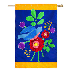 Evergreen - Birds & Flowers Outdoor Flag - Greet guests with this cheerful flag that offers a splash of color, a graceful floral print and a darling bird design.   Pole not included Polyester Imported