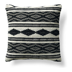 Frontgate - Bohemian Diamond Throw Pillow - Makes a vibrant addition to a chair, sofa or bed. Neutral colors (gray, cream and black) pair well with any decor. Decorative design on pillow front, woven of 100% wool. Back of pillow is woven of 100% cotton. Feather/down insert. With a diamond-patterned design woven in 100% wool, this Diamond Gray Bohemian Decorative Pillow looks and feels like a hand-loomed wool kilim rug. Given a feather/down insert and knife-edge finish, this makes a casual, geometric accent piece with textural appeal.. . . . . Zippered closure for easy care. Dry cleaning recommended. Imported.
