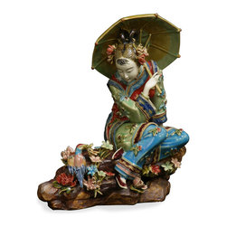 China Furniture and Arts - Chinese Shi Wan Porcelain Lady - This porcelain figurine depicts a young Chinese lady sitting in a graceful pose with an umbrella. Her typical maiden hairdo adds to the cheerful playfulness of her character. Completely hand crafted from Shi-Wan, Canton China.