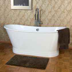 """68"""" Kateryn Bateau Cast Iron Skirted Tub - Styled after the romantic French Bateau, or boat bath, this luxurious tub features a two-piece design and a painted metal skirt."""