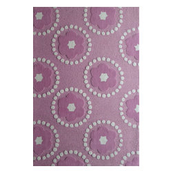 Rug - ~4 ft x 6 ft. Pink with Pedals Kids Bedroom Area Rug,  Soft & hand-tufted - ZOOMANIA KIDS COLLECTION