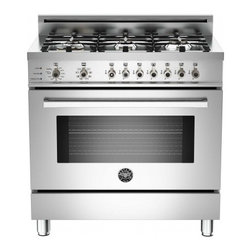 """Bertazzoni - Professional PRO366DFSX 36"""" Natural Gas Dual-Fuel Self-Clean Range With 6 Brass - Colors for the Bertazzoni Professional Series serve your design sense and your kitchen decor exactly The beautiful colors are applied to the oven door lower access panel and sides of the unit contrasting elegantly with the stainless-steel worktop con..."""