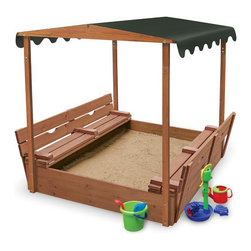 Badger Basket - Covered Convertible Cedar Sandbox - Badger Basket's unique canopy sandbox is sure to become a favorite hangout for the neighborhood kids! It features two comfortable benches and a canopy top for shade. There's plenty of room for several kids to dig, build, and explore together. But wait, there's more! The benches fold flat to cover and protect the sand when play time is done! Bottomless construction helps with drainage and allows you to adjust sand depth. Features: -Unique design covers the sand when not in use, unfolds for bench seating during play. -When the benches are unfolded for play, open sand area measures 31 inches x 46.5 inches (there is also sand under the benches). -57 inches H to the top of the canopy. -Canopy top shades kids and sand from the hot sun. -Benches hold up to 200 lbs. -Bottomless design allows you to adjust the depth of sand to your liking. -Made with solid wood and metal hardware. -Holds approximately 750 pounds of sand to fill it 6 inches deep (calculated assuming average of 100 lbs per cubic foot for dry sand and 4 sides x 46.5 inches L x 6 inches H equals 7.5 cuft) . -Sand not included. -Made with heat-treated, stained cedar wood and rust-resistant hardware. -Canopy top is made with waterproof fabric. -Hand grips make it easy to fold and unfold.