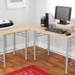 Simple Living - Simple Living L-shaped Natural Computer Desk - The simple,light-colored wood and gray metal L-shaped computer desk is perfect for a corner spot in an office. The included hutch provides a space to raise up a monitor for perfect viewing comfort. The open space beneath the desk affords clean lines.