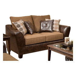 Chelsea Home Furniture - Chelsea Home Union Loveseat in Too Good - PU Chocolate - Tokyo Oak - Union loveseat in Too Good - PU Chocolate - Tokyo Oak belongs to the Chelsea Home Furniture collection .