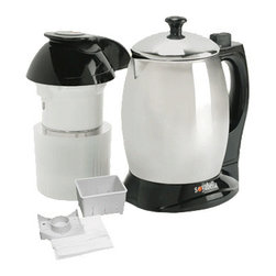 """TRIBEST CORP. - Tribest Soyabella Soymilk And Soup Maker with Lid and Tofu Kit,9.5""""L x 7.25""""W - Tribest Soyabella Soymilk And Soup Maker is the elegantly easy way to make fresh soymilk, veganmilks and hot soups at home. Soyabella is also great for making milk from a wide variety of beans as well as for making fresh rice milk, rice paste, sesame paste and porridge. It is extremely convenient with different program settings that let you easily control temperature and grinding time with a single touch."""