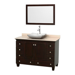 """Wyndham Collection - 48"""" Acclaim Single Vanity w/ Ivory Marble Top & Avalon White Carrera Marble Sink - Sublimely linking traditional and modern design aesthetics, and part of the exclusive Wyndham Collection Designer Series by Christopher Grubb, the Acclaim Vanity is at home in almost every bathroom decor. This solid oak vanity blends the simple lines of traditional design with modern elements like beautiful overmount sinks and brushed chrome hardware, resulting in a timeless piece of bathroom furniture. The Acclaim comes with a White Carrera or Ivory marble counter, a choice of sinks, and matching mirrors. Featuring soft close door hinges and drawer glides, you'll never hear a noisy door again! Meticulously finished with brushed chrome hardware, the attention to detail on this beautiful vanity is second to none and is sure to be envy of your friends and neighbors"""