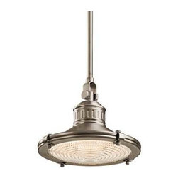 Kichler Lighting - Kichler 10-Inch Vintage Style Mini-Pendant - 42436AP - A fresnel lens diffuses the light to reduce glare. Includes three 12-inch stem segments with an integrated sloped ceiling adapter. Takes (1) 60-watt incandescent A19 bulb(s). Bulb(s) sold separately. Dry location rated.
