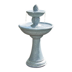 "Sunnydaze Decor - Dual Pineapple Tiered Solar On Demand Fountain - Pedestal: 12"" diameter at the base x 18""H; Large Bowl: 19.25"" diameter; Small Bowl: 10.5"" in diameter"