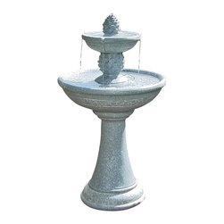 "Sunnydaze Decor - Dual Pineapple Tiered Solar On Demand Fountain - Pedestal: 12"" diameter at the base x 18""H; Large Bowl: 19.25"" diameter; Small Bowl: 10.5"" in diameter"